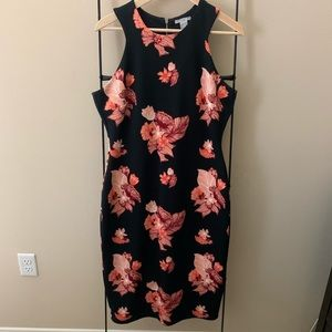 Navy blue with pink flower print midi dress